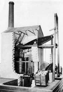 A typical Cornish Beam Engine showing how the building forms part of the engine structure
