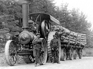 A Fowler Road Locomotive hauling timber in Scorland
